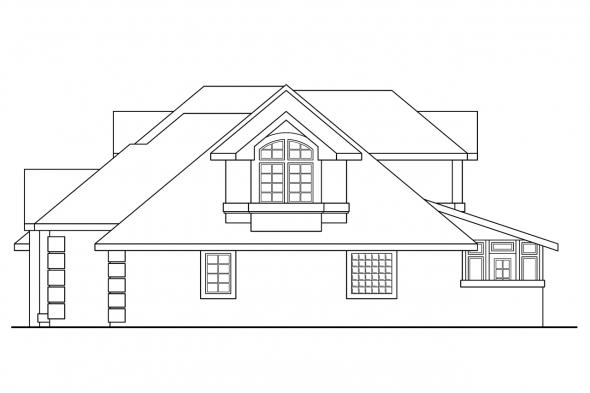 Southwest House Plan - San Antonio 11-053 - Right Elevation