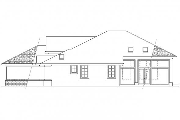 Southwest House Plan - St. Augustine 10-302 - Right Elevation