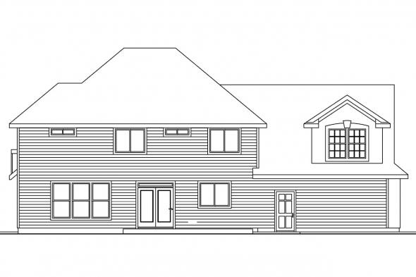 Southwestern House Plan - Gerabaldi 30-543 - Rear Elevation