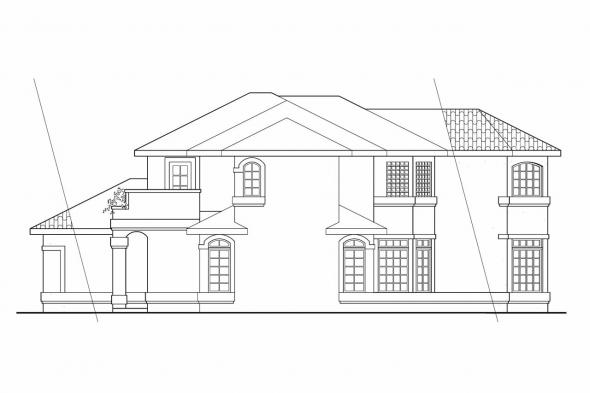 Spanish Style House Plan - Bellaire 11-050 - Right Elevation