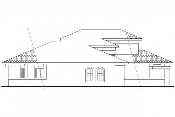 Spanish Style House Plan - Cortez 11-011 - Left Elevation
