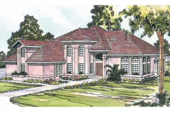Spanish Style House Plan - Stanfield 11-084 - Front Elevation
