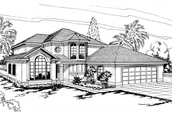 Spanish Style House Plan - Villa Real 11-067 - Front Elevation