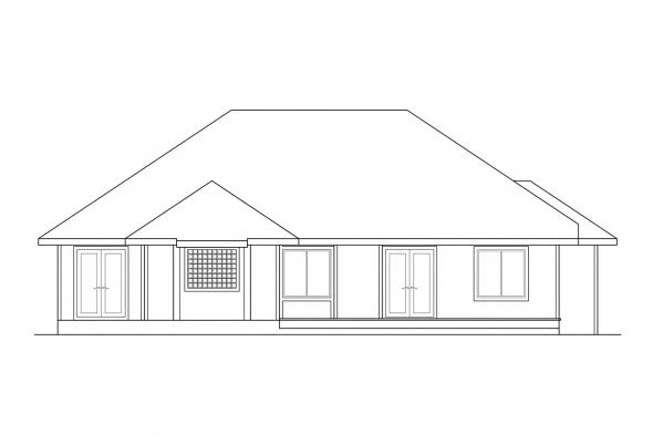 Split Level House Plan - Lenox 30-066 - Rear Elevation