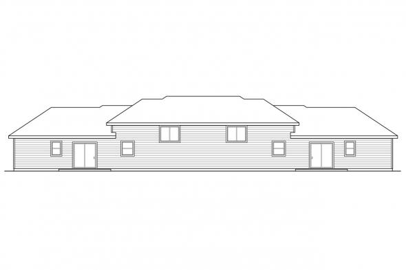 Split Level House Plan - Lincolnshire 60-032 - Rear Elevation