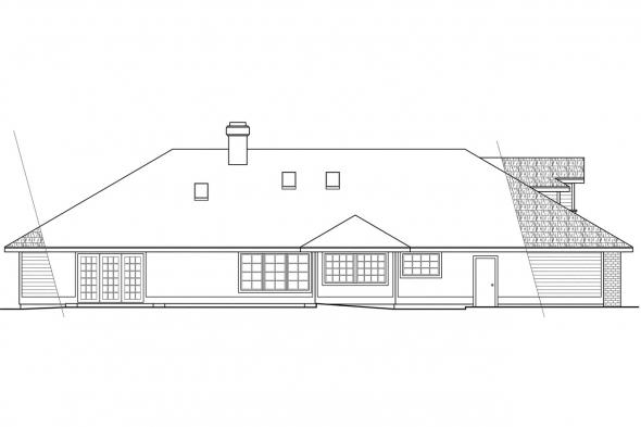 Traditional Home Plan - Ainsley 10-008 - Rear Elevation