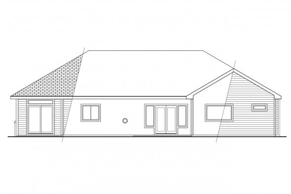 Traditional Home Plan - Cottonwood 30-151 - Rear Elevation