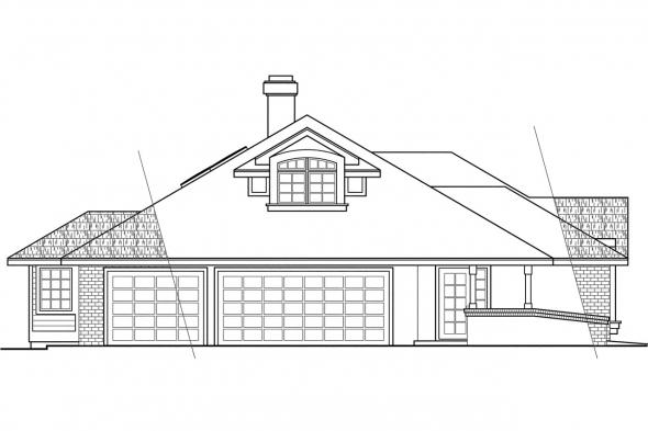 Traditional House Plan - Ainsley 10-008 - Left Elevation