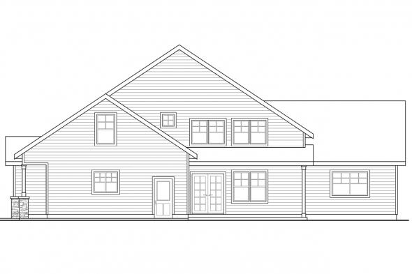 Traditional House Plan - Awbery 30-551 - Rear Elevation