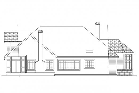 Traditional House Plan - Blueridge 10-205 - Rear Elevation