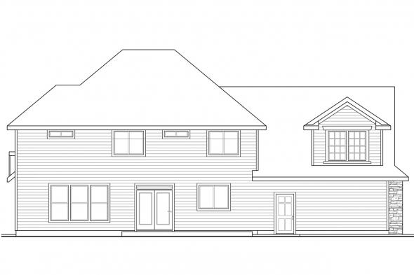 Traditional House Plan - Cartwright 30-556 - Rear Elevation