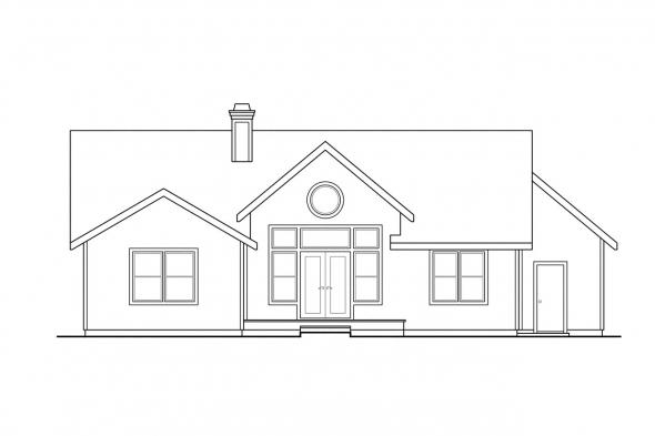 Traditional House Plan - Chesapeake 50-007 - Rear Elevation
