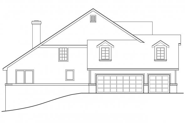Traditional House Plan - Clayton 10-292 - Left Elevation