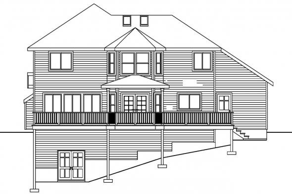 Traditional House Plan - Frederick 30-507 - Rear Elevation