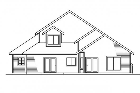 Traditional House Plan - Gilcrest 30-270 - Rear Elevation
