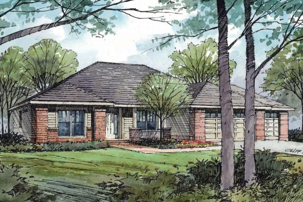Traditional House Plan - Green Valley 70-005 - Front Elevation