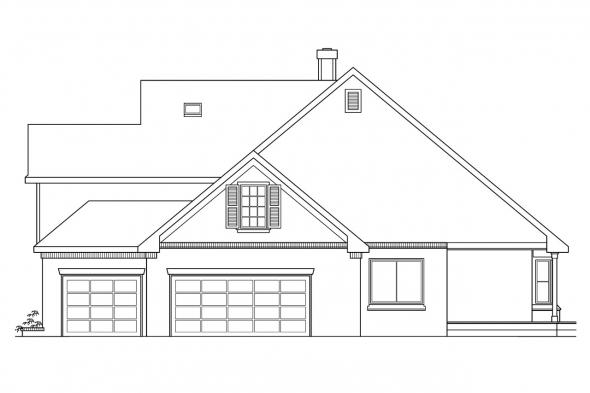 Traditional House Plan - Heartwood 10-300 - Right Elevation
