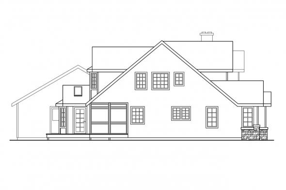 Traditional House Plan - Hilyard 10-408 - Left Elevation