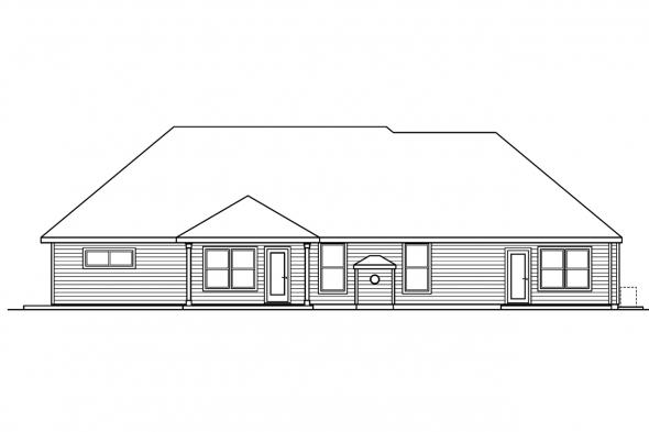 Traditional House Plan - Littlefield 30-717 - Rear Elevation