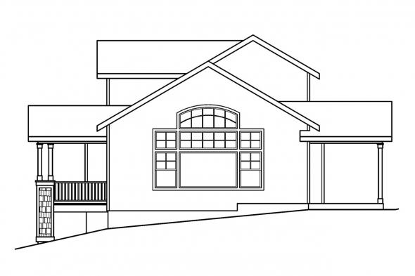 Traditional House Plan - Mathis 30-475 - Right Elevation