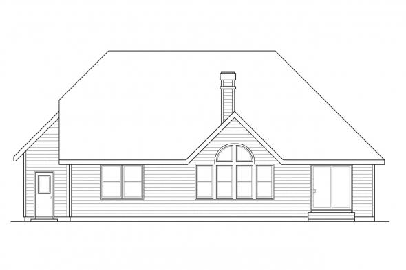 Traditional House Plan - Norkenzie 50-006 - Rear Elevation