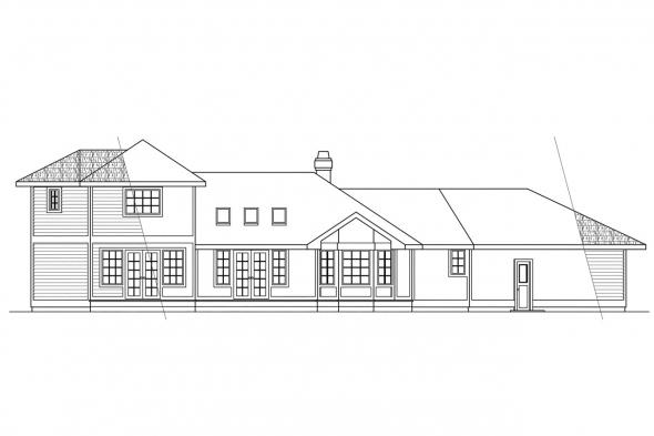Traditional House Plan - Normandy 10-050 - Rear Elevation