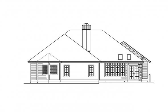 Traditional House Plan - Norwich 30-175 - Rear Elevation