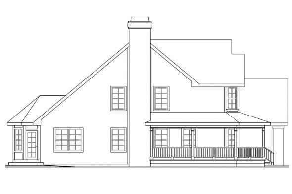 Traditional House Plan - Oakheart 10-400 - Left Elevation