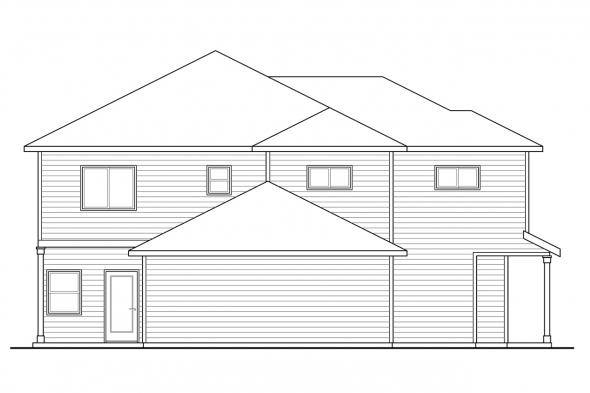 Traditional House Plan - Parkridge 60-035 - Rear Elevation