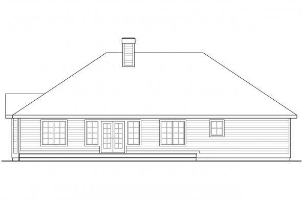 Traditional House Plan - Stayton 10-040 - Rear Elevation