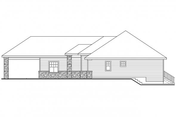 Traditional House Plan - Stonechase 11-133 - Right Elevation