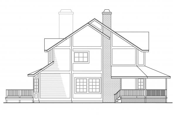 Traditional House Plan - Thompson 10-018 - Left Elevation