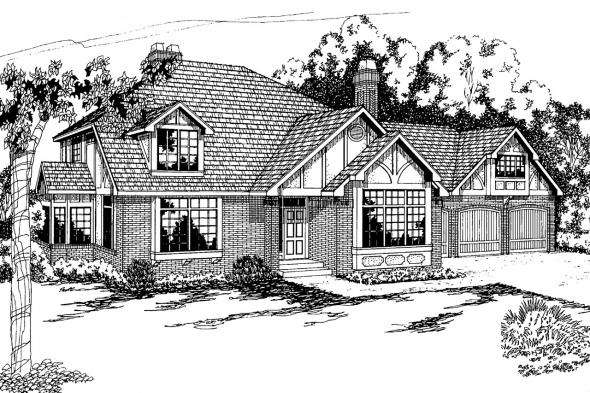 Tudor House Plan - Walbrook 10-070 - Front Elevation