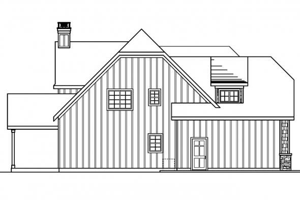 European House Plan - Wedgewood 30-629 - Left Elevation