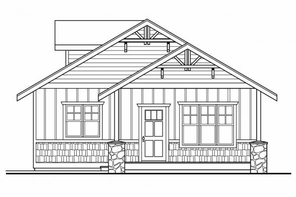 Two Car Garage Plan 20-034 - Right Elevation