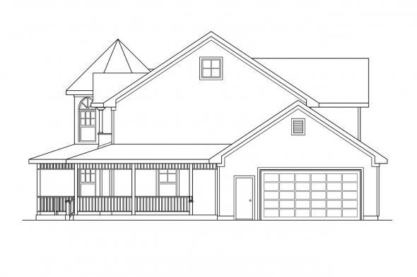 Victorian House Plan - Evansville 30-045 - Right Elevation
