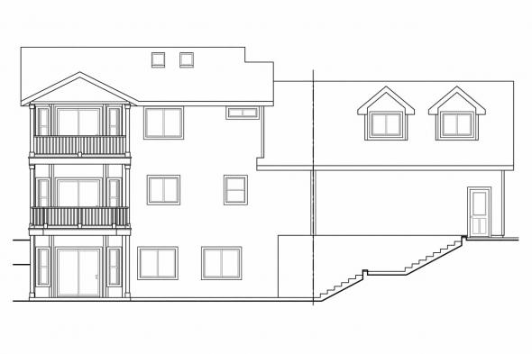 View Lot House Plan - Alsea 30-756 - Rear Elevation