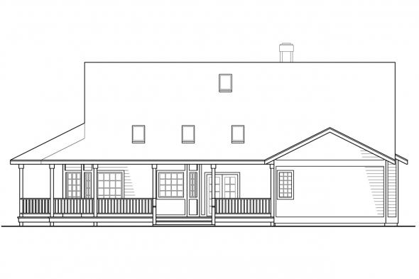 View Lot House Plan - Cortland 10-195 - Rear Elevation