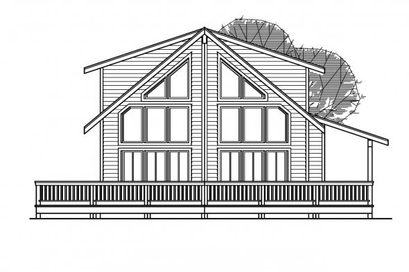 View Lot House Plan - Gerard 30-288 - Rear Elevation