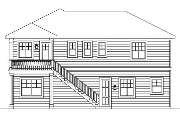 View Lot House Plan - Marianna 30-592 - Rear Elevation