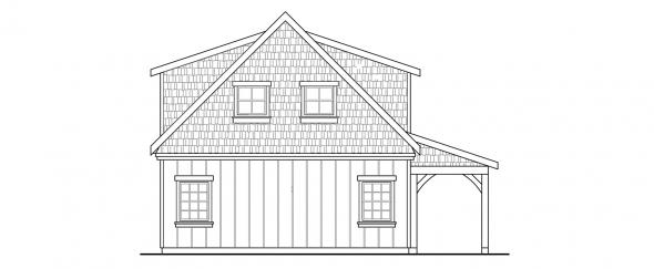 2 car Garage w/Attic - Garage Plans - Rear Elevation
