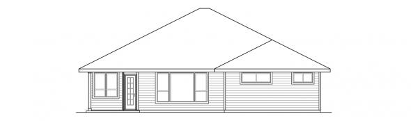 Oakdale - 30-881 - Prairie Home Plan - Rear Elevation
