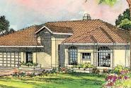 Cibola - 10-202 - Southwestern Home Plans - Front Elevation