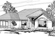 Brisbane - 11-016 - Southwestern Home Plans - Front Elevation