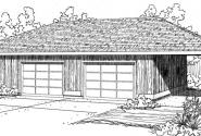 2 car Garage w/Carport - 20-066 - Garage Plans - Front Elevation