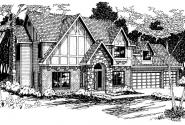 Livingston - 30-046 - Tudor Home Plans - Front Elevation