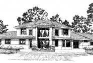 Estefan - 30-125 - Southwestern Home Plan - Front Elevation