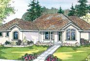Roselle - 30-427 - Mediterranean Home Plan - Front Elevation