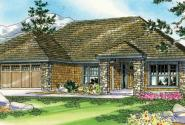 Creekstone - 30-708 - Prairie Home Plan - Front Elevation