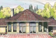 Oakland - 10-037 - Hexagonal Home Plans - Rear Elevation